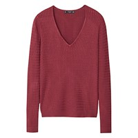 Mango Cable Knit V Neck Jumper Claret