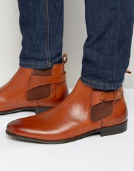 Kg By Kurt Geiger Buckle Chelsea Boots In Tan Leather Tan