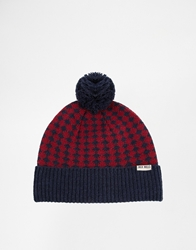 Jack Wills Bolberry Small Geo Stripe Hat Navyredgreen