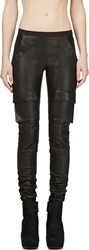 Rick Owens Black Leather Ribbed Panel Trousers