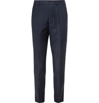 Ami Alexandre Mattiussi Navy Tapered Wool Trousers Blue