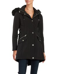 Guess Lace Up Hooded Faux Fur Trimmed Parka Black