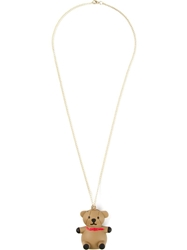Moschino Bear Pendant Necklace Nude And Neutrals