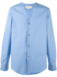 Marni Collarless Shirt Blue
