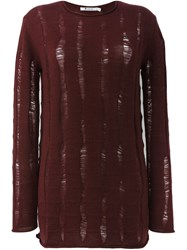 T By Alexander Wang Distressed Oversized Jumper Red