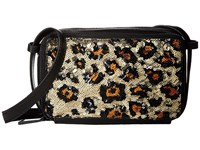 French Connection Amy Crossbody Black Leopard Lamb Pu Sequins Cross Body Handbags Animal Print