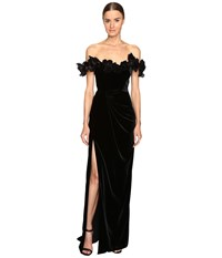 Marchesa Velvet Off The Shoulder Column Gown With High Slit Embellished With Laser Cut Organza And Velvet Flowers Black