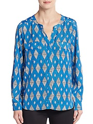 Collective Concepts Chiffon Geo Print Roll Sleeve Blouse Blue
