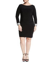 Marina Plus Side Shirred Sheath Dress Blk