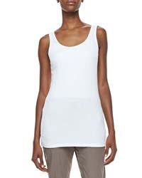 Xcvi Long Slim Fit Cotton Tank Women's White