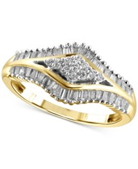 Macy's Diamond Statement Ring 1 2 Ct. T.W. In 14K Gold Plated Sterling Silver Yellow Gold