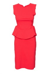 Indulgence Peplum Mid Length Dress Red