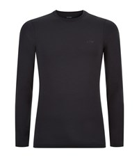 Armani Jeans Stretch Cotton Long Sleeve T Shirt Male Navy