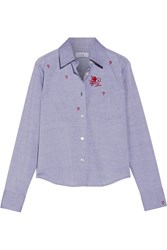 Title A Embroidered Cotton Chambray Shirt Light Blue