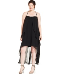 City Chic Plus Size Draped Back High Low Chiffon Halter Dress Black