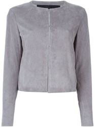 Drome Leather Fitted Jacket Grey