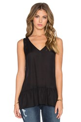The Great The V Neck Flounce Tank Black