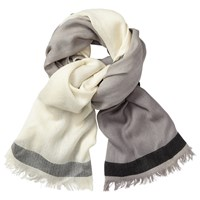 John Lewis Colour Block Wool Scarf Taupe Cream