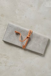 Anthropologie Embossed Suede Pencil Pouch Grey
