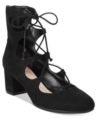 Bar Iii Percy Lace Up Block Heel Pumps Only At Macy's Women's Shoes