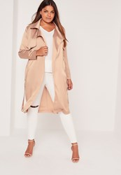 Missguided Plus Size Satin Trench Coat Nude Mauve