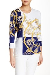 J.Mclaughlin Signature 3 4 Sleeve Printed Tee Multi