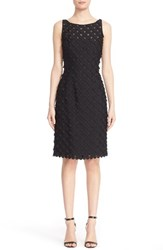 Carmen Marc Valvo Women's Circle Applique Sleeveless Sheath Dress