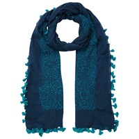 East Hand Embroidered Pom Pom Scarf Indigo