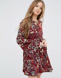 Moon River Flower Printed Lace Up Dress Burgundy Red