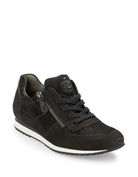 Paul Green Cage Suede And Leather Sneakers Black