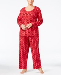 Charter Club Plus Size Printed Knit Pajama Set Only At Macy's Snowflake Scottie