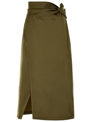 3.1 Phillip Lim Everglade Satin Knotted Waist Skirt Green