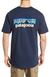 Men's Patagonia 'P 6 Logo' Organic Cotton T Shirt Navy Blue