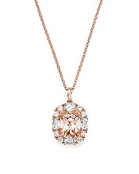 Bloomingdale's Morganite Aquamarine And Diamond Pendant Necklace In 14K Rose Gold 18 Pink Rose
