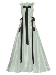 Oscar De La Renta Bow Detail Ruffle Neckline Silk Taffeta Gown Light Blue