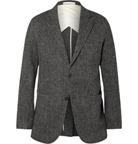 Beams Plus Herringbone Harris Wool Tweed Blazer Gray