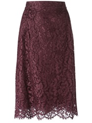 Dolce And Gabbana Floral Lace Midi Skirt Red