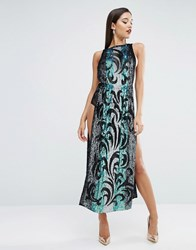 Asos Red Carpet Sequin Tabard Midi Dress With Stripe Multi