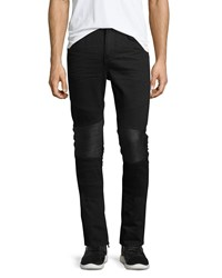 Daniel Won Slim Fit Moto Jeans W Leather Panels Black Men's