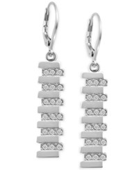 T Tahari Silver Tone Pave Linear Drop Earrings