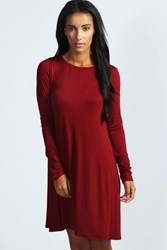 Boohoo Scoop Neck Long Sleeve Swing Dress Berry