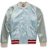Gucci Reversible Embroidered Satin Bomber Jacket Blue