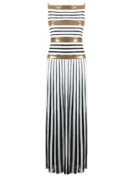 Reinaldo Lourenco Silk Striped Gown Metallic
