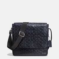 Coach Metropolitan Map Bag In Signature Sport Calf Leather Silver Midnight