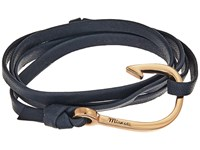 Miansai Rose Gold Hook On Leather Bracelet Navy Blue