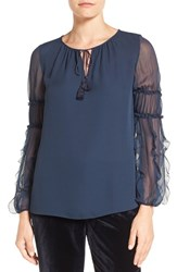 Elie Tahari Women's 'Marielle' Sheer Sleeve Silk Blouse