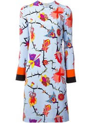 Emilio Pucci Floral Print Shift Dress Blue