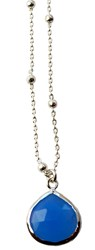 Isabella Tropea Gemstone Drop Necklace Blue Chalcedony