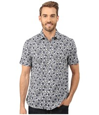 Perry Ellis Exclusive Graphic Flower Print Shirt Bright White Men's Clothing