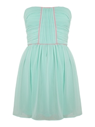 Lashes Strapless Crush Pleat Bandeau Dress Turquoise